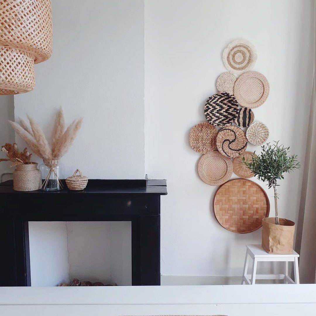 Baskets next to fireplace