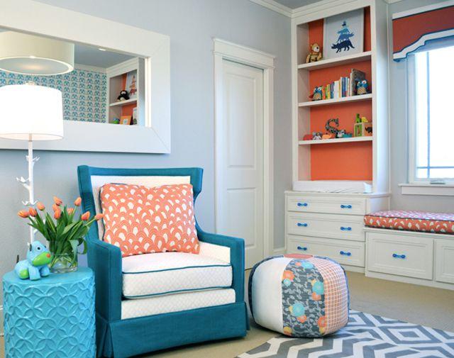 Gender neutral nursery in bright teal and tangerine orange