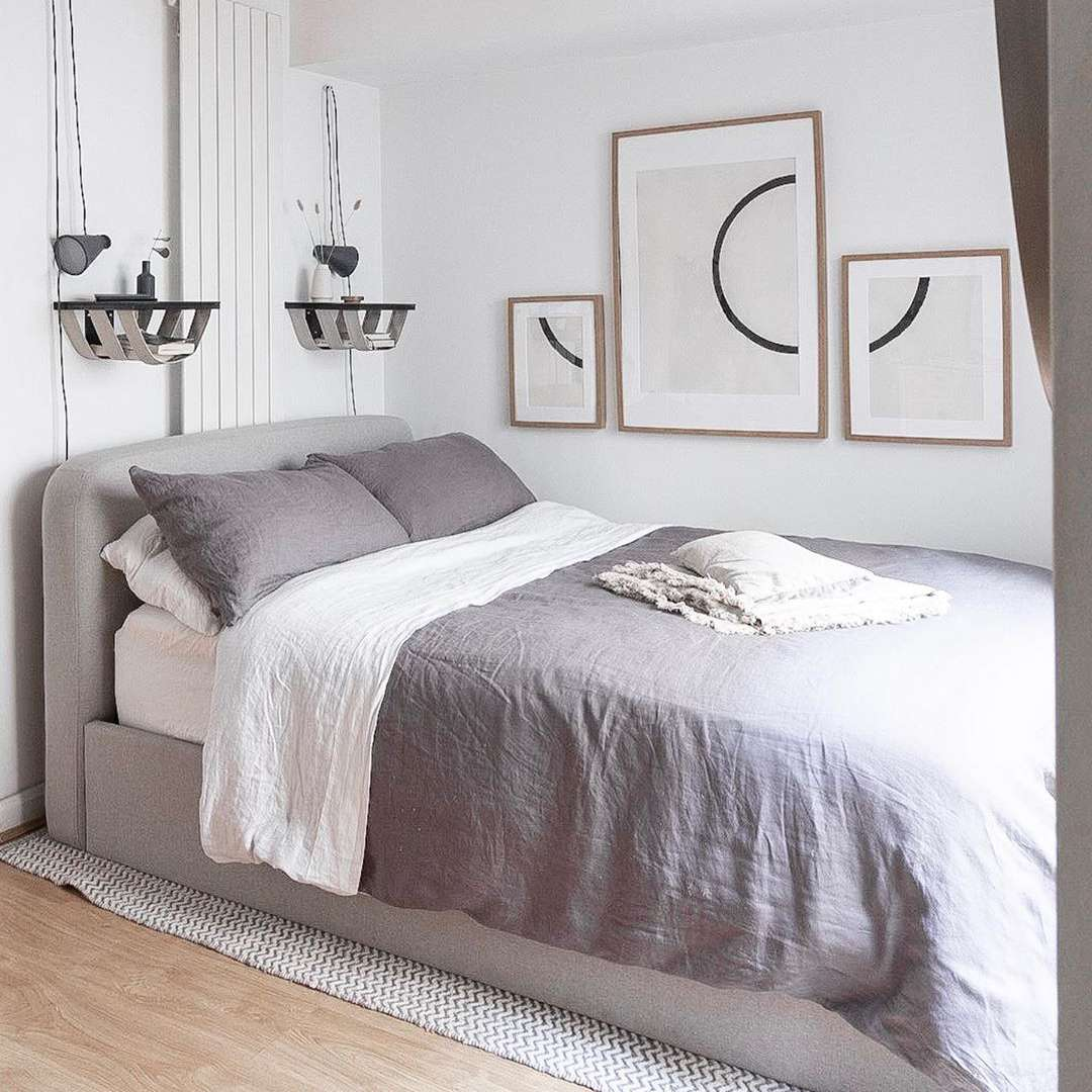 Bedroom with gray sheets