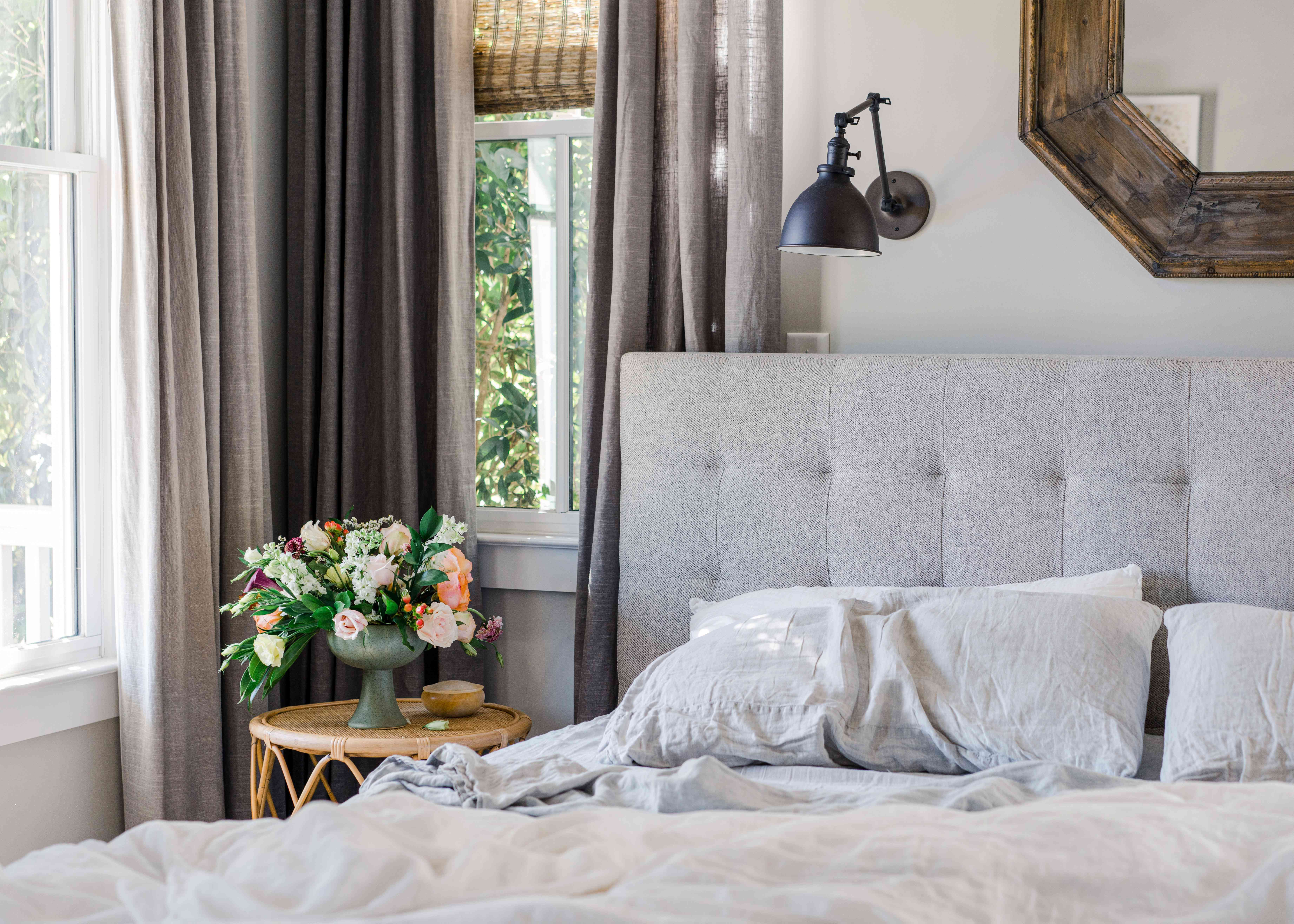 linen curtains in a bedroom