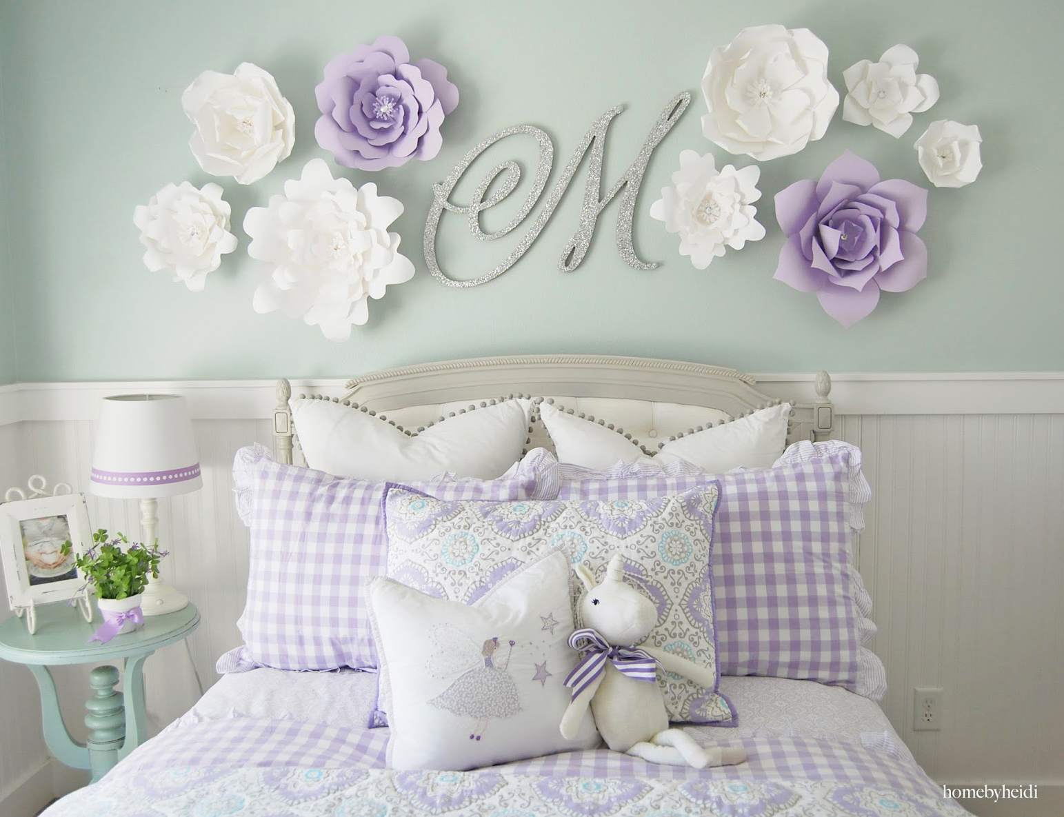 Paper Flower Wall Display With Monogram Letter
