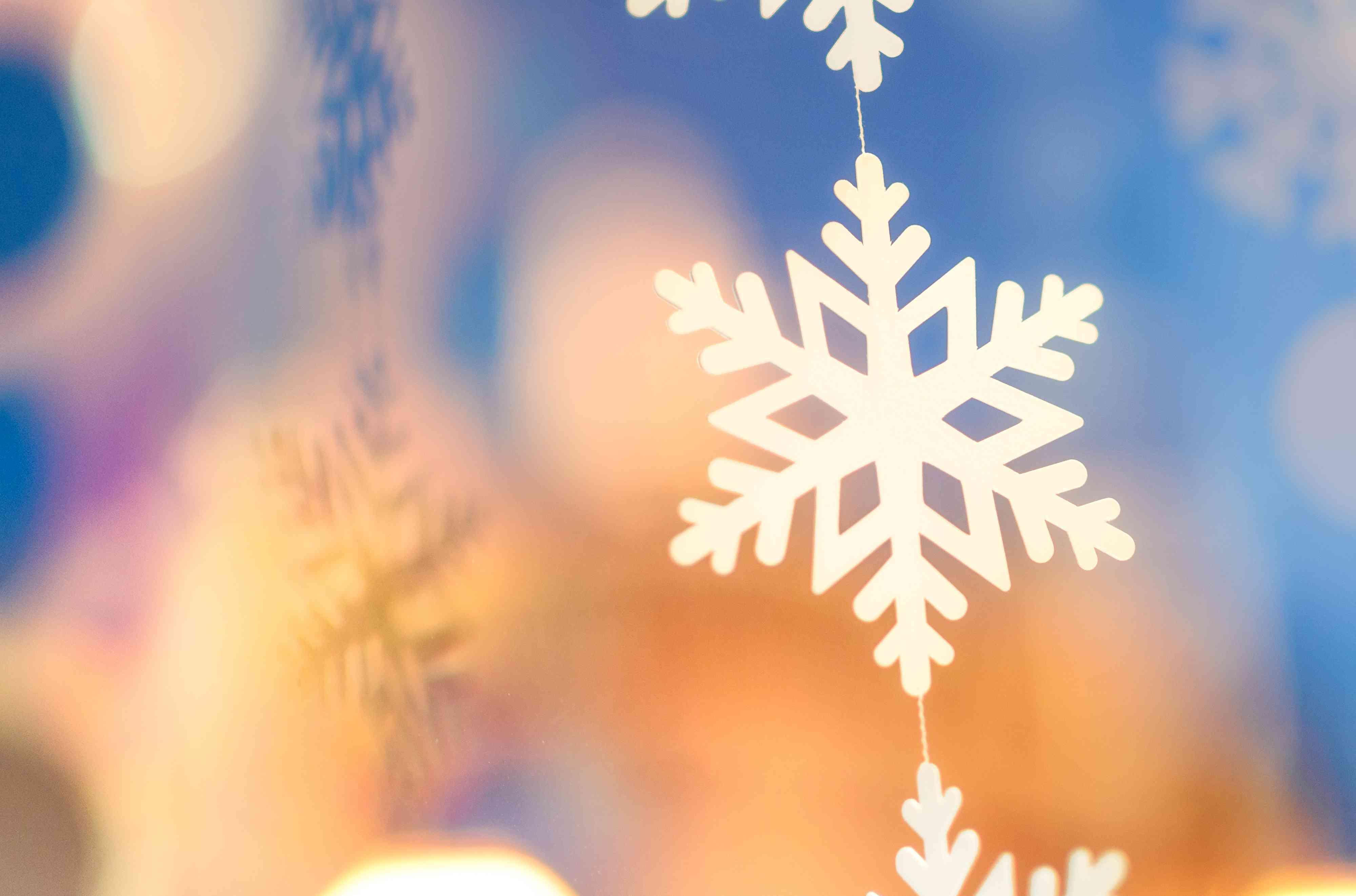Close-up of snowflake decoration, Union Street, San Francisco, California, USA