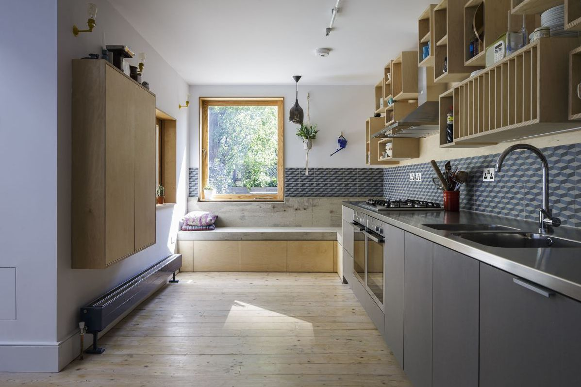 Charcoal blue kitchen cabinets