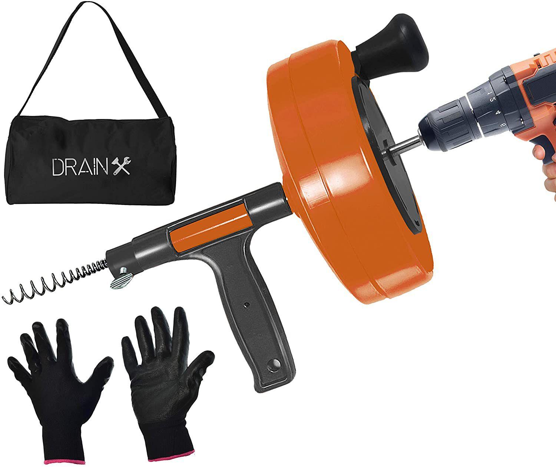 Drainx 25-Ft Pro Drum Auger Plumbing Snake