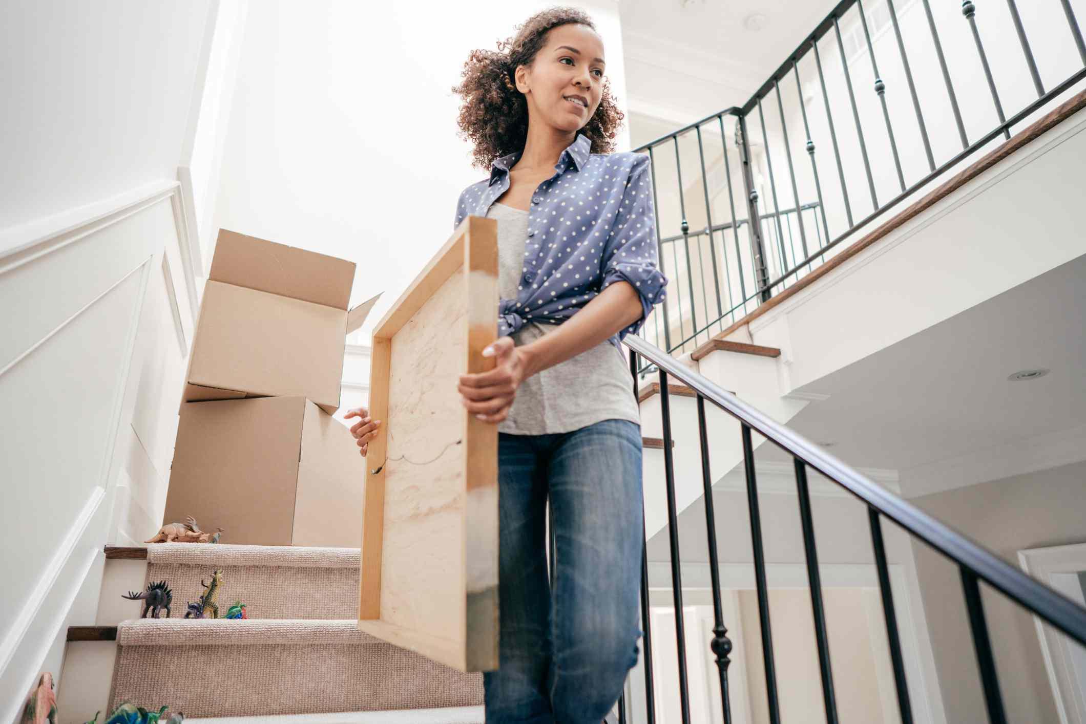 Woman organizing home