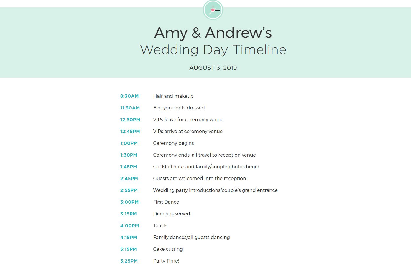 Free wedding itinerary templates and timelines a customized printable wedding itinerary maxwellsz