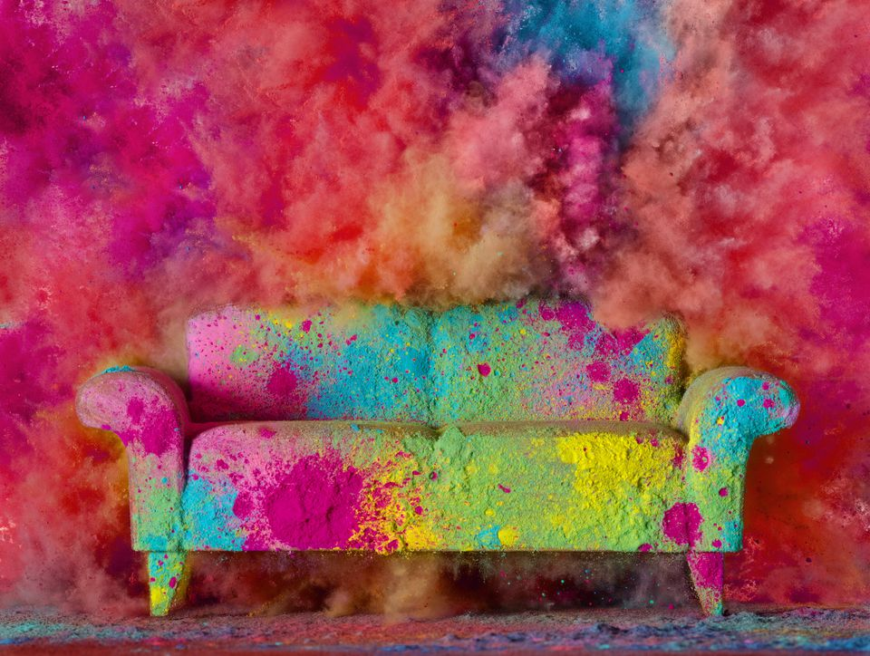 A colorful couch