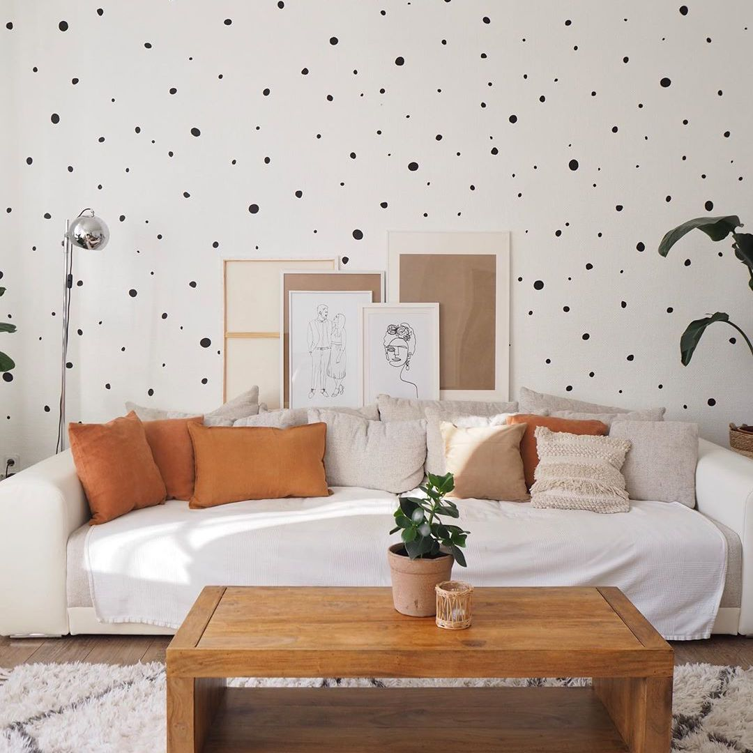 Living room wall with spots