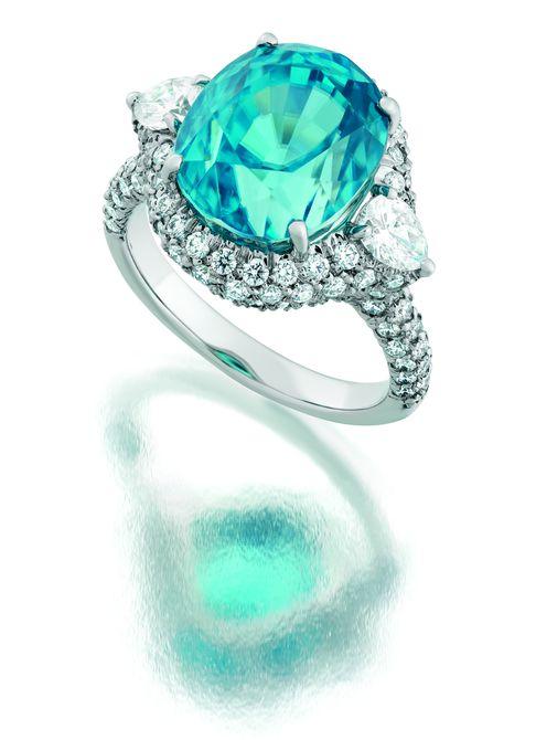 Suna Bros. Paraiba tourmaline and diamond engagement ring.