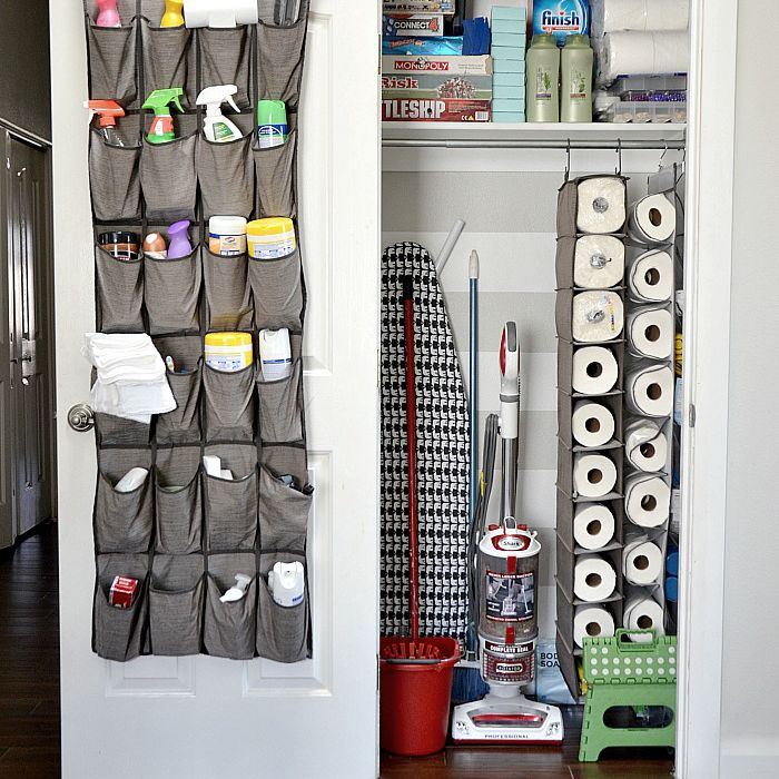 organized closet with cleaning supplies