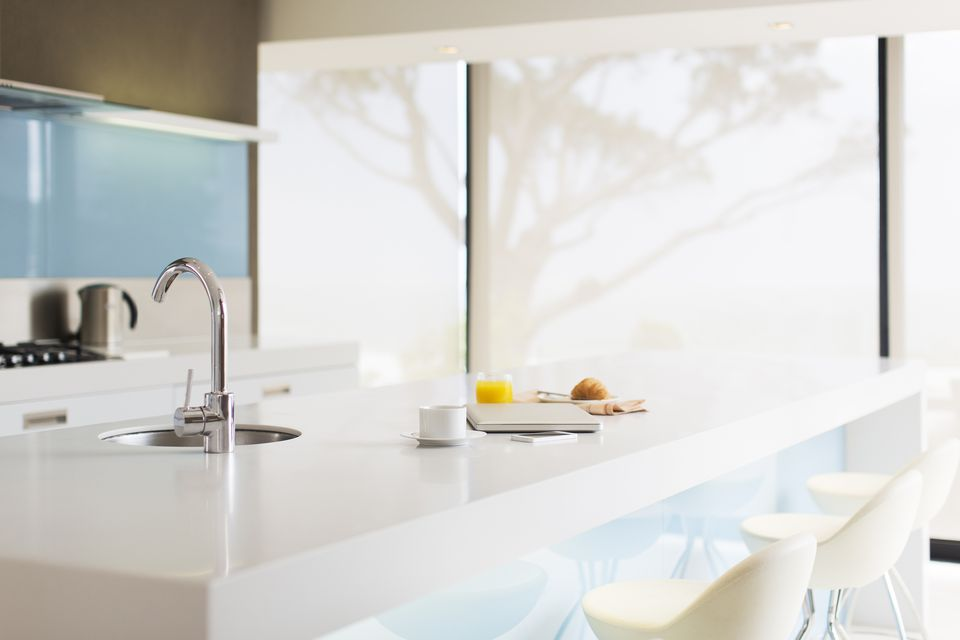 Pristine solid-surface countertops