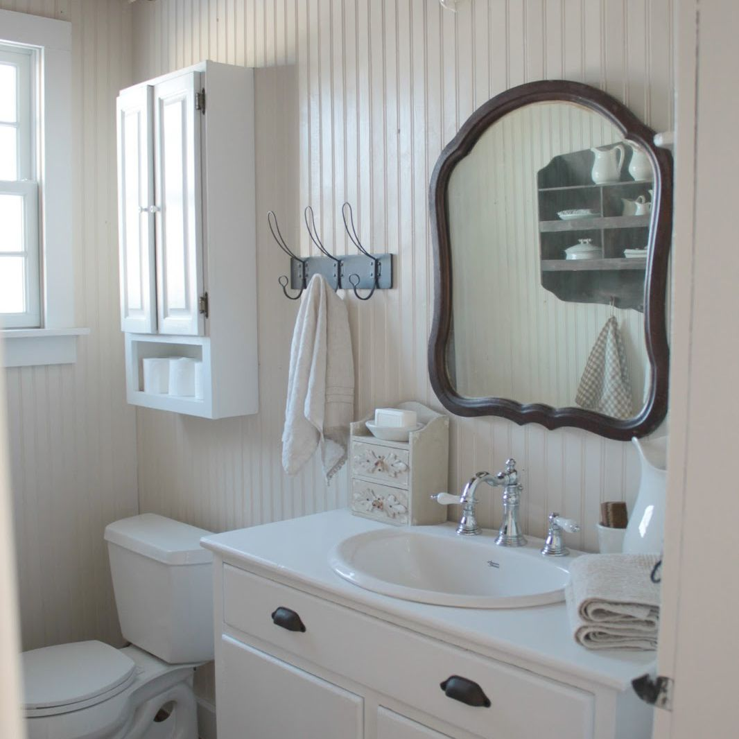 A beadboard bathroom in a rustic farmhouse style