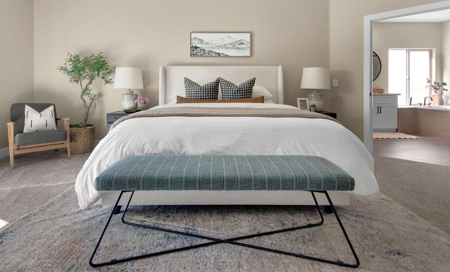 California cool bedroom with tree, neutral vibes