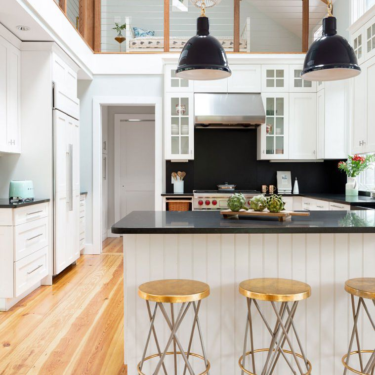 Coastal kitchen with black accents