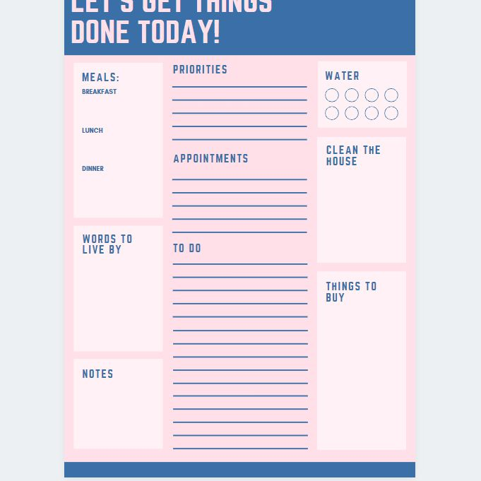 A blue and pink daily planner page template