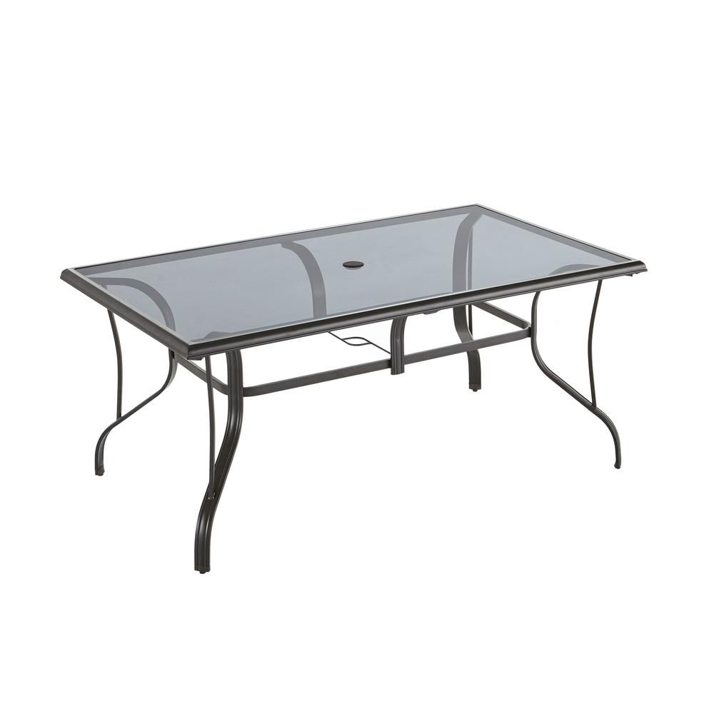 Hampton bay statesville pewter rectangle aluminum glass outdoor dining table