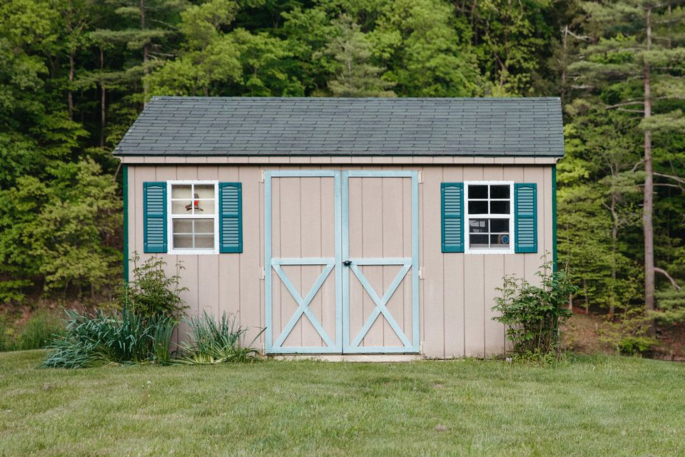 garden shed with shutters