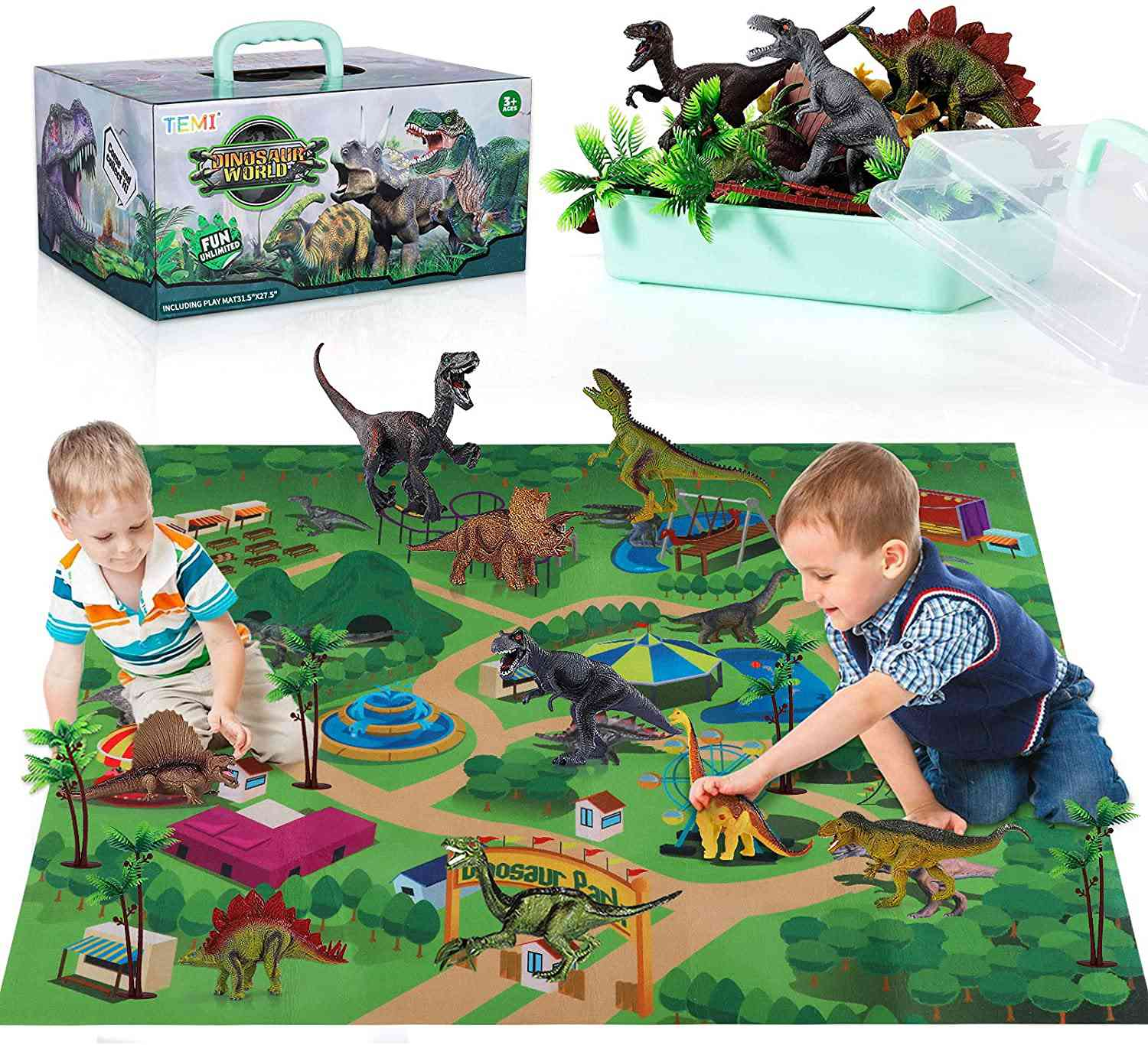 Temi Dinosaur Toy Figure with Activity Play Mat & Trees