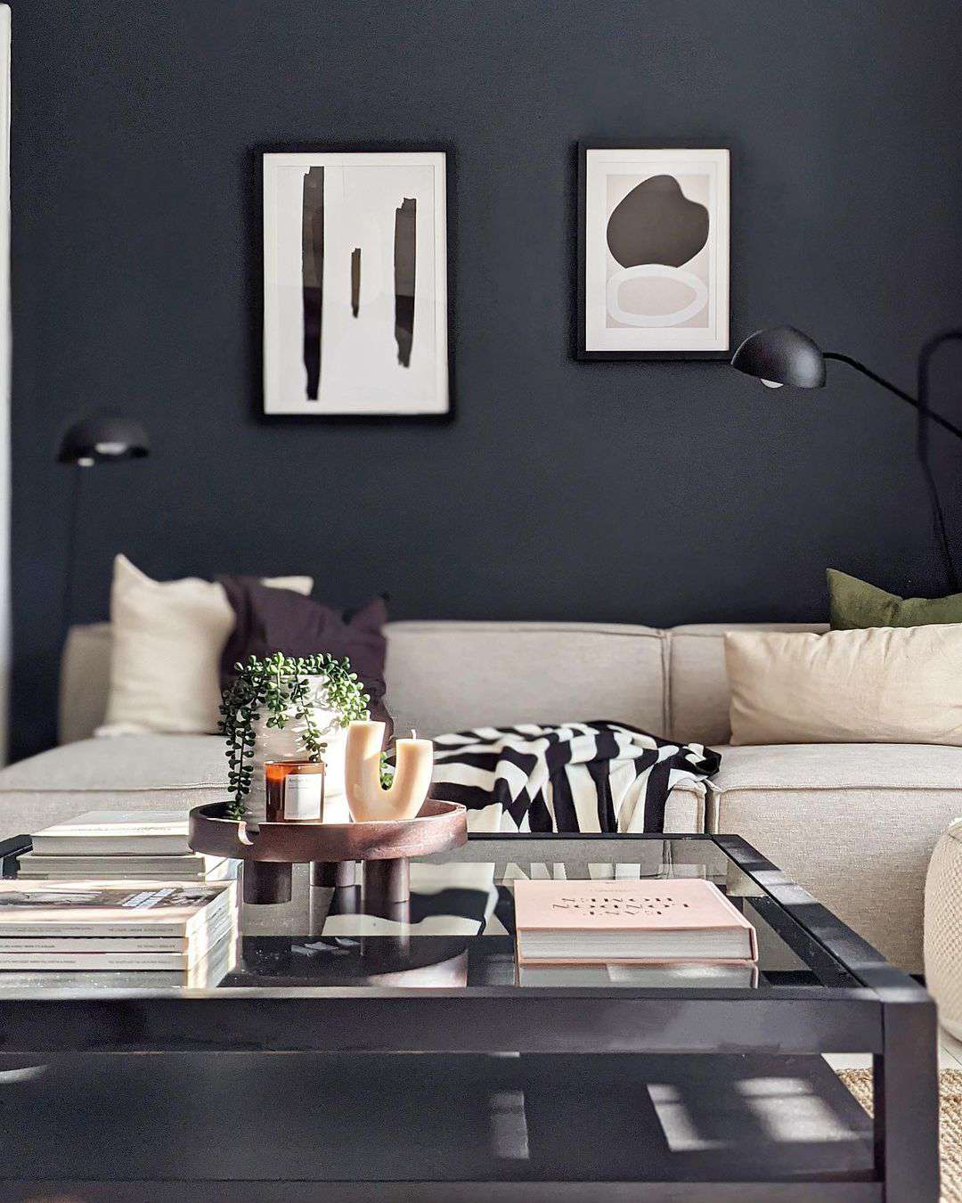 black walls with abstract art