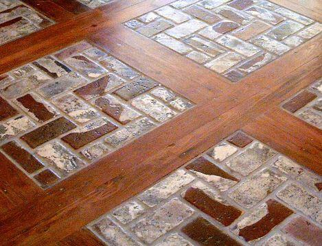 Brick and hardwood flooring