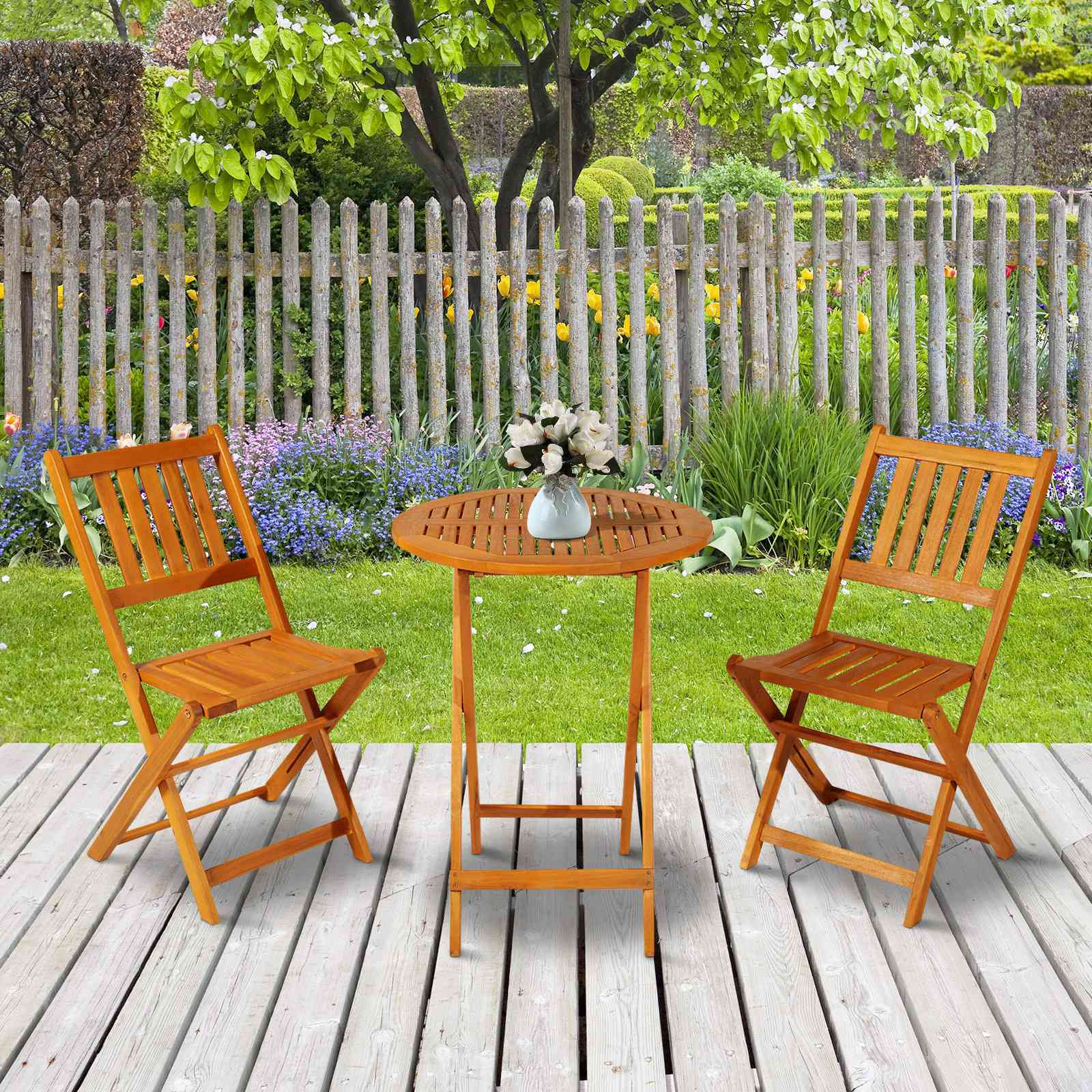 Outsunny 3 Piece Folding Acacia Wood Patio Bistro Set Table and Chairs