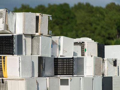 Stack of disposed fridges