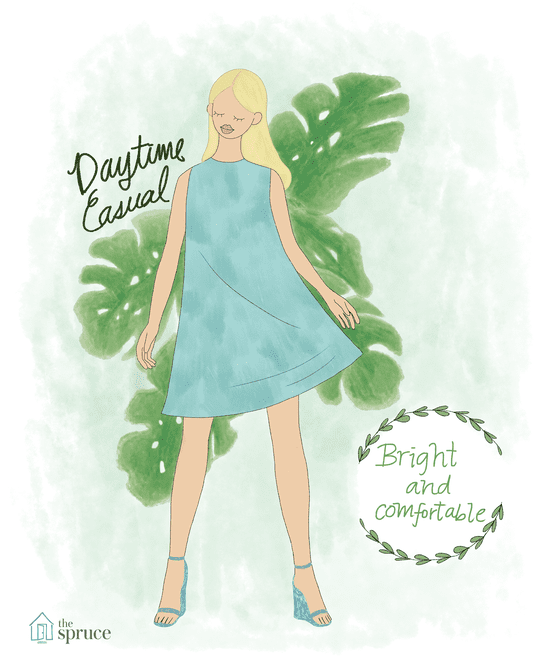 Illustration of daytime casual wedding attire