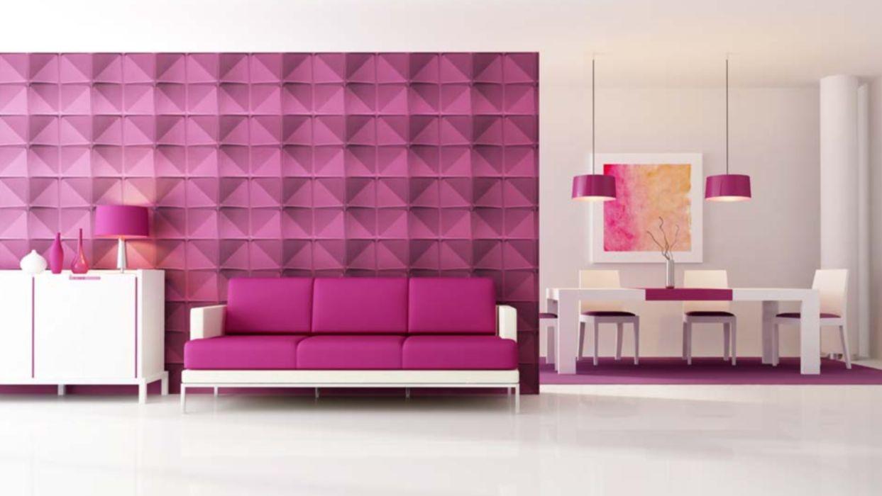 Dimensiones de la pared del cubo púrpura con panel de pared 3D