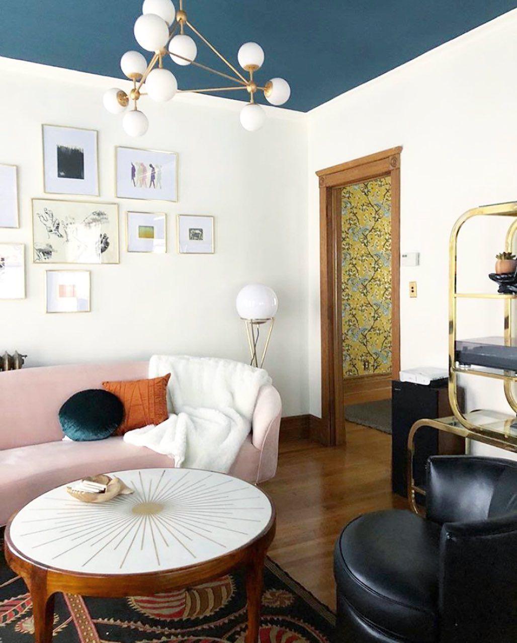 living room with modern lighting