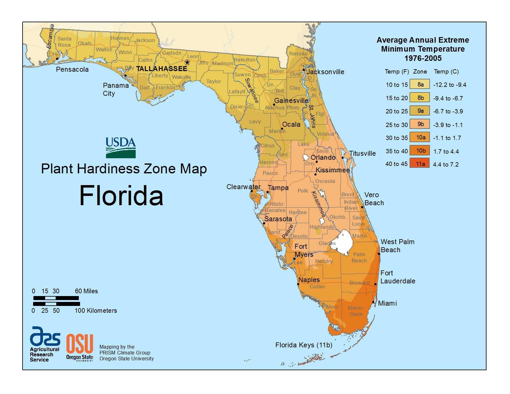 Usda Loan Map Florida State Maps of USDA Plant Hardiness Zones