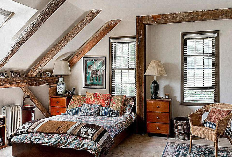 An eclectic bedroom is a mix of styles.