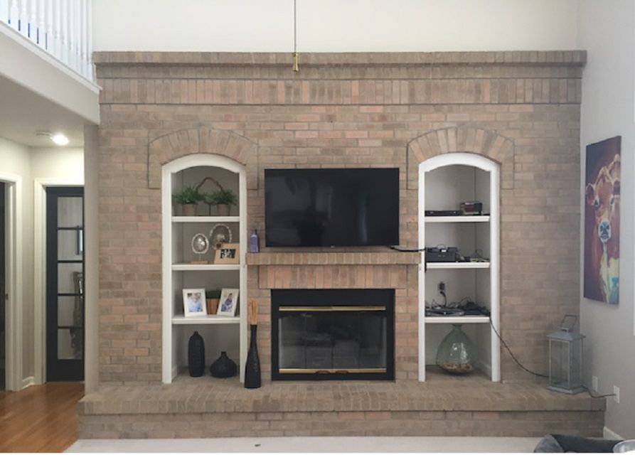 Before - Peach Colored Fireplace