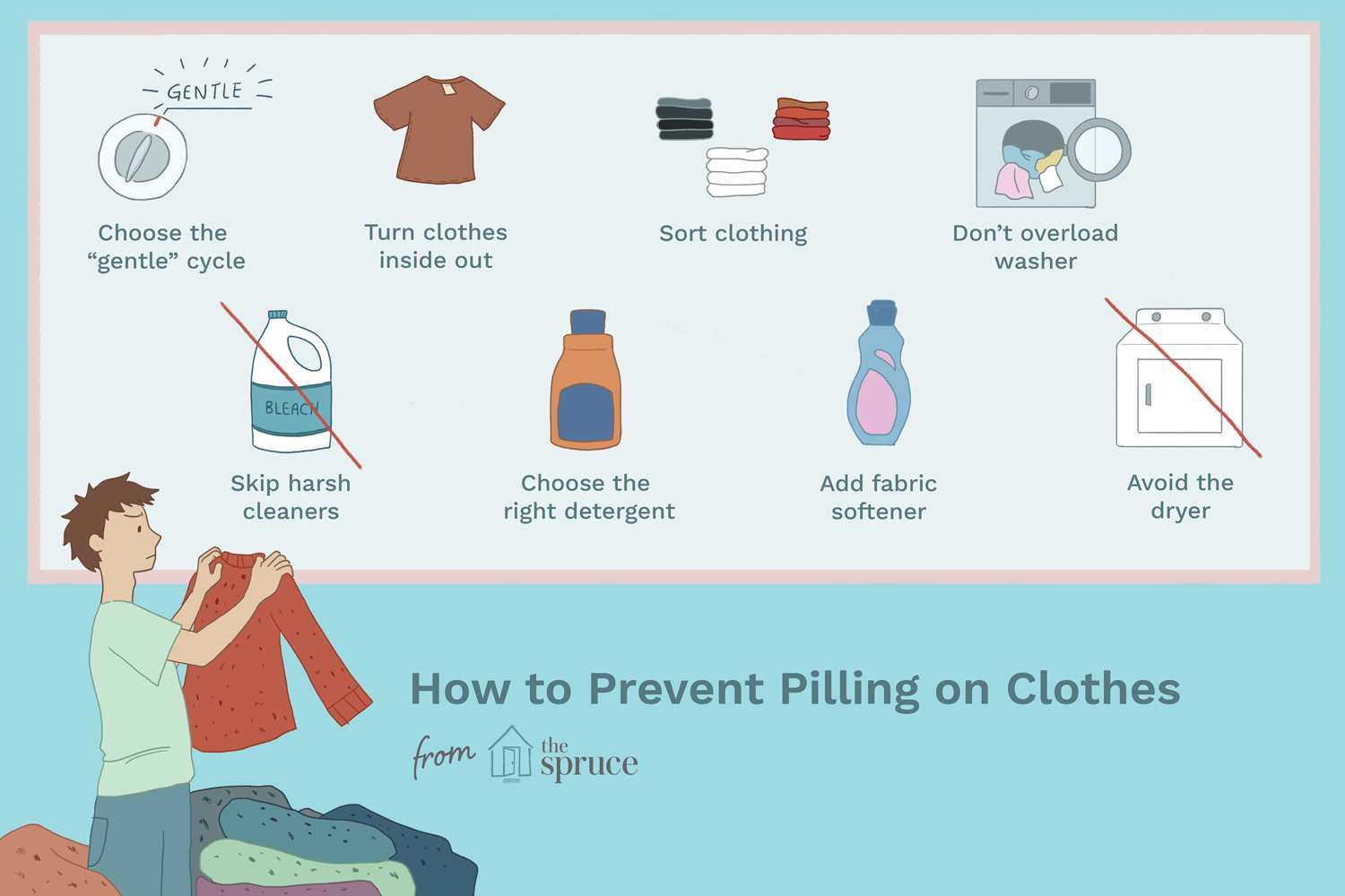 Illustration of how to prevent pilling on clothing