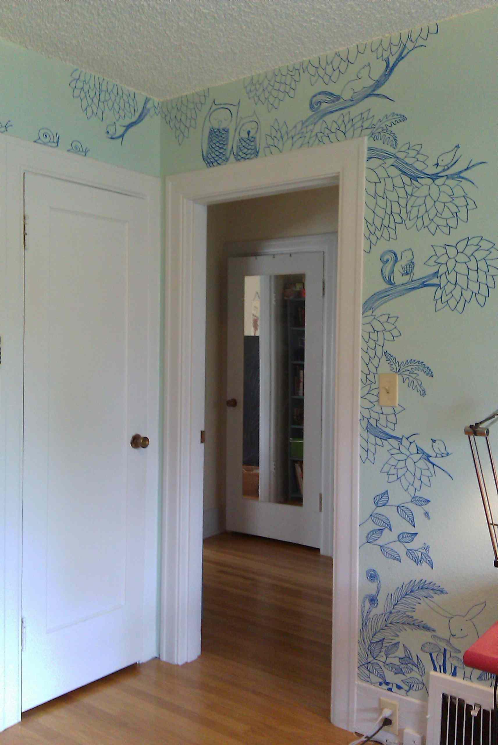 Sharpie art doodles around doorway