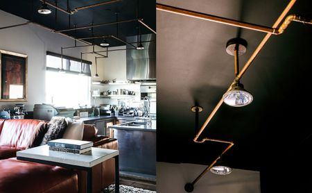 Black Ceiling With Copper Light Fixture