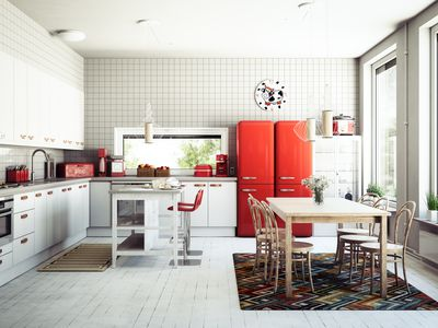 Kitchen with red fridge and freezer