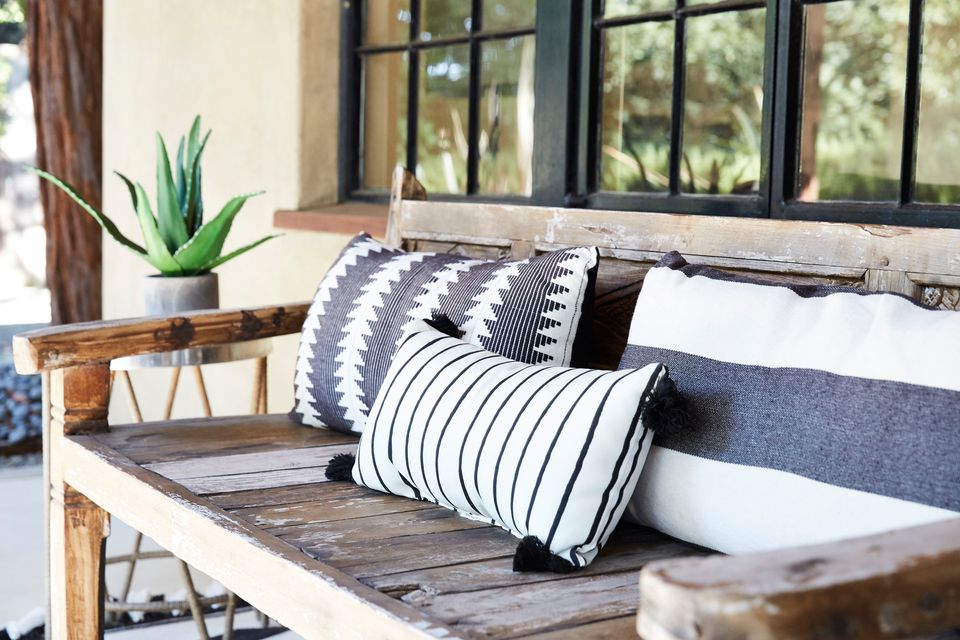 striped pillows used as decor