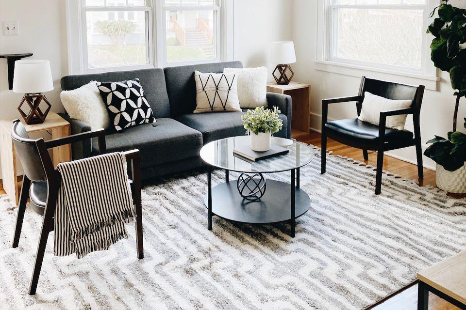 Mid-century modern living room with shag rug