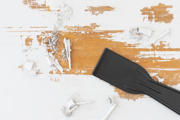 scraping paint off of wood
