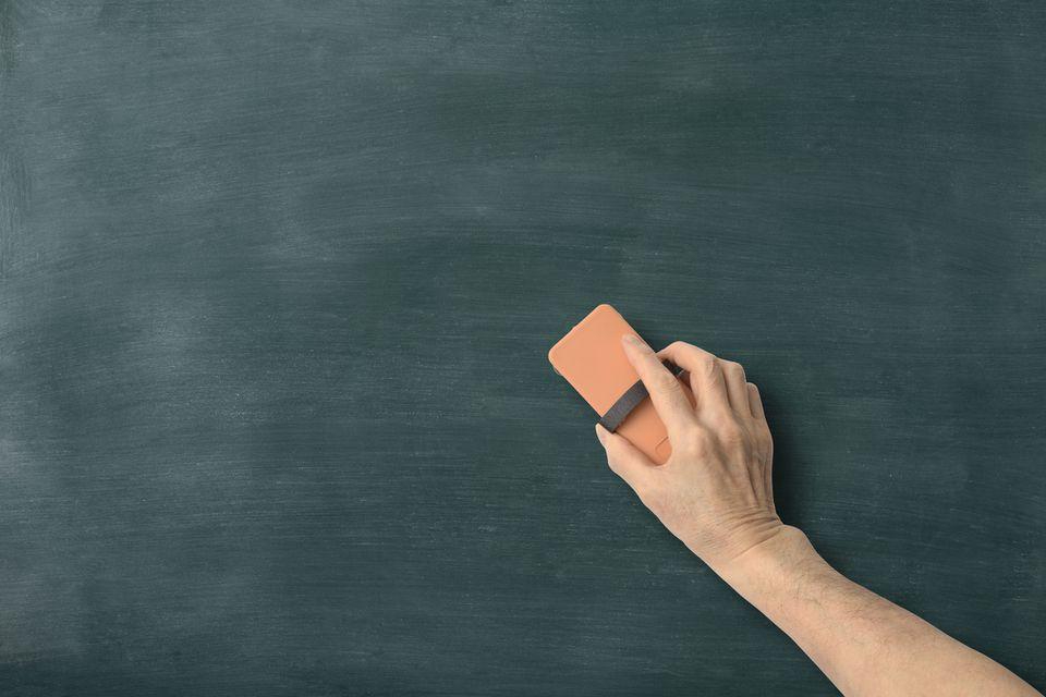 Cleaning a chalkboard
