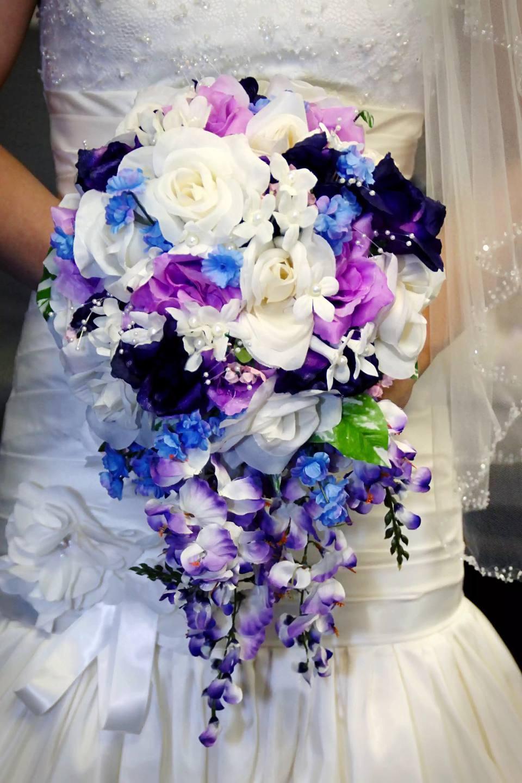 Spring purple bridal bouquet cascading teardrop bouquet izmirmasajfo