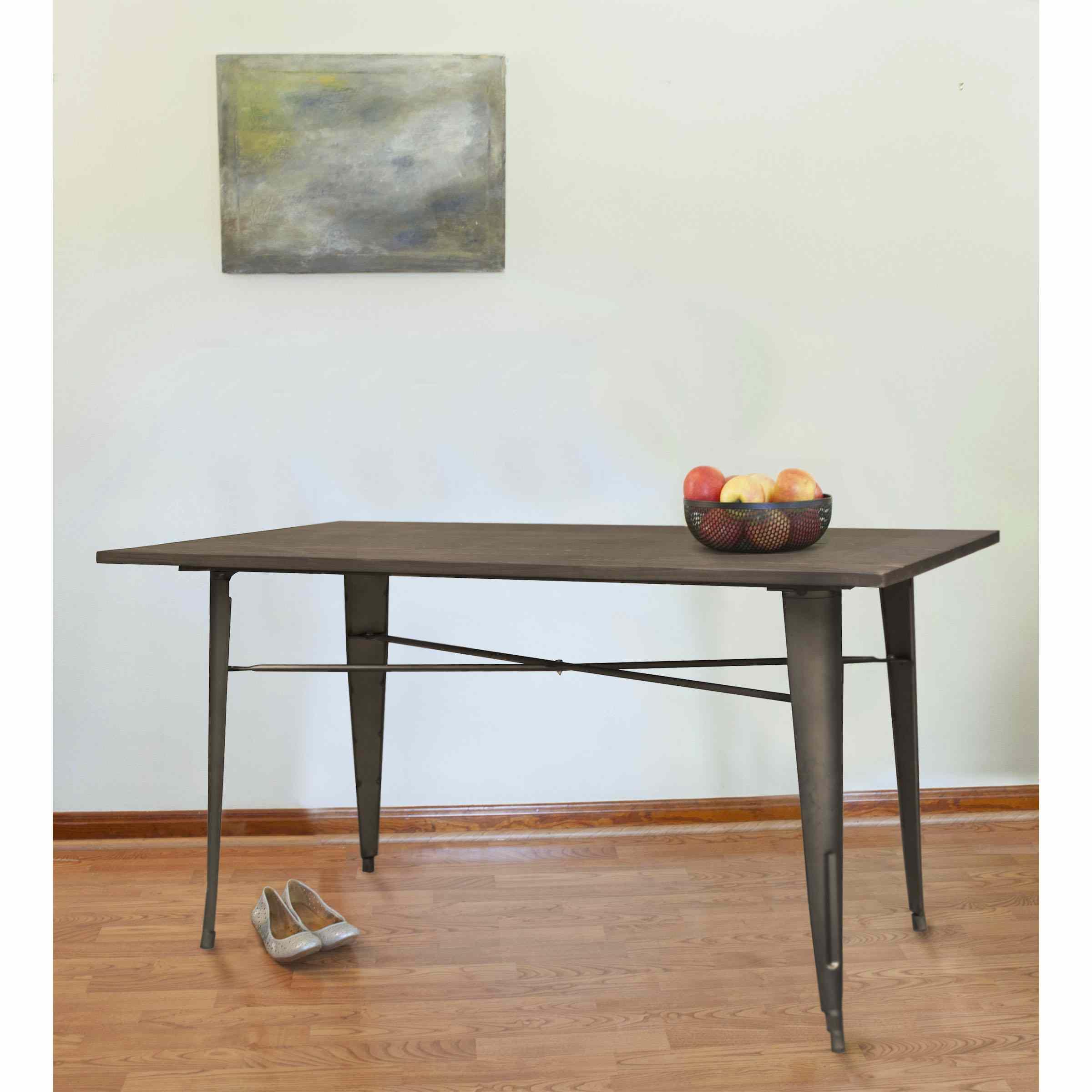 AmeriHome Loft Rustic Gunmetal Metal Dining Table with Wood Top