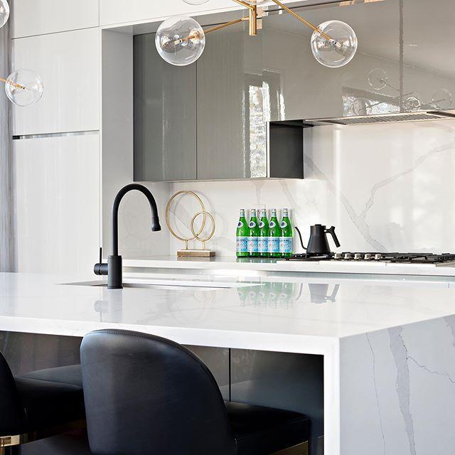 Modern kitchen with light fixture