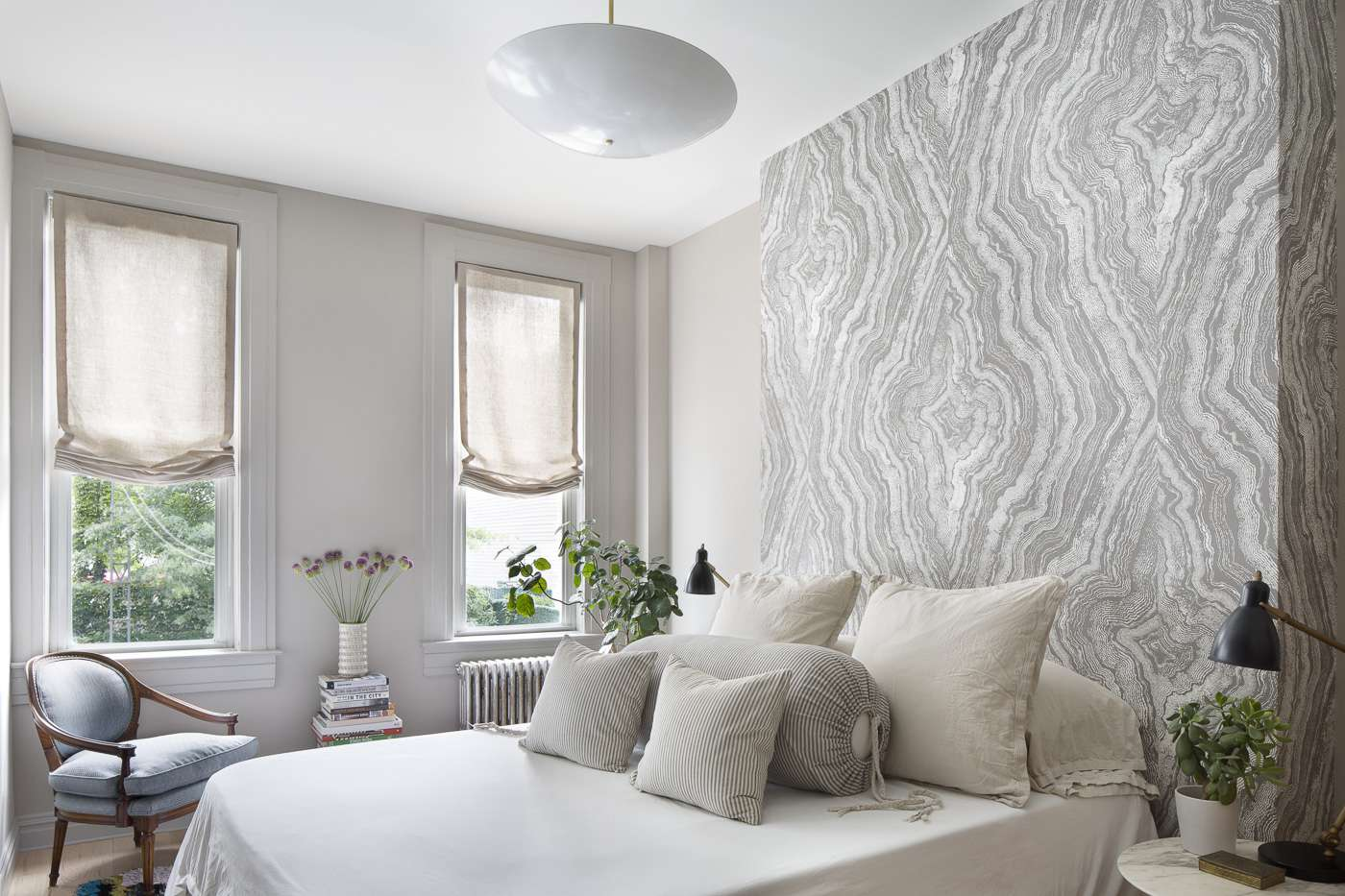 Faux stone wallpaper in bedroom