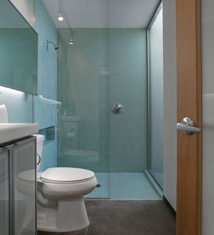 Sample Pictures Of Showers With Iridescent Tiles - Green-glass-bathroom-tile