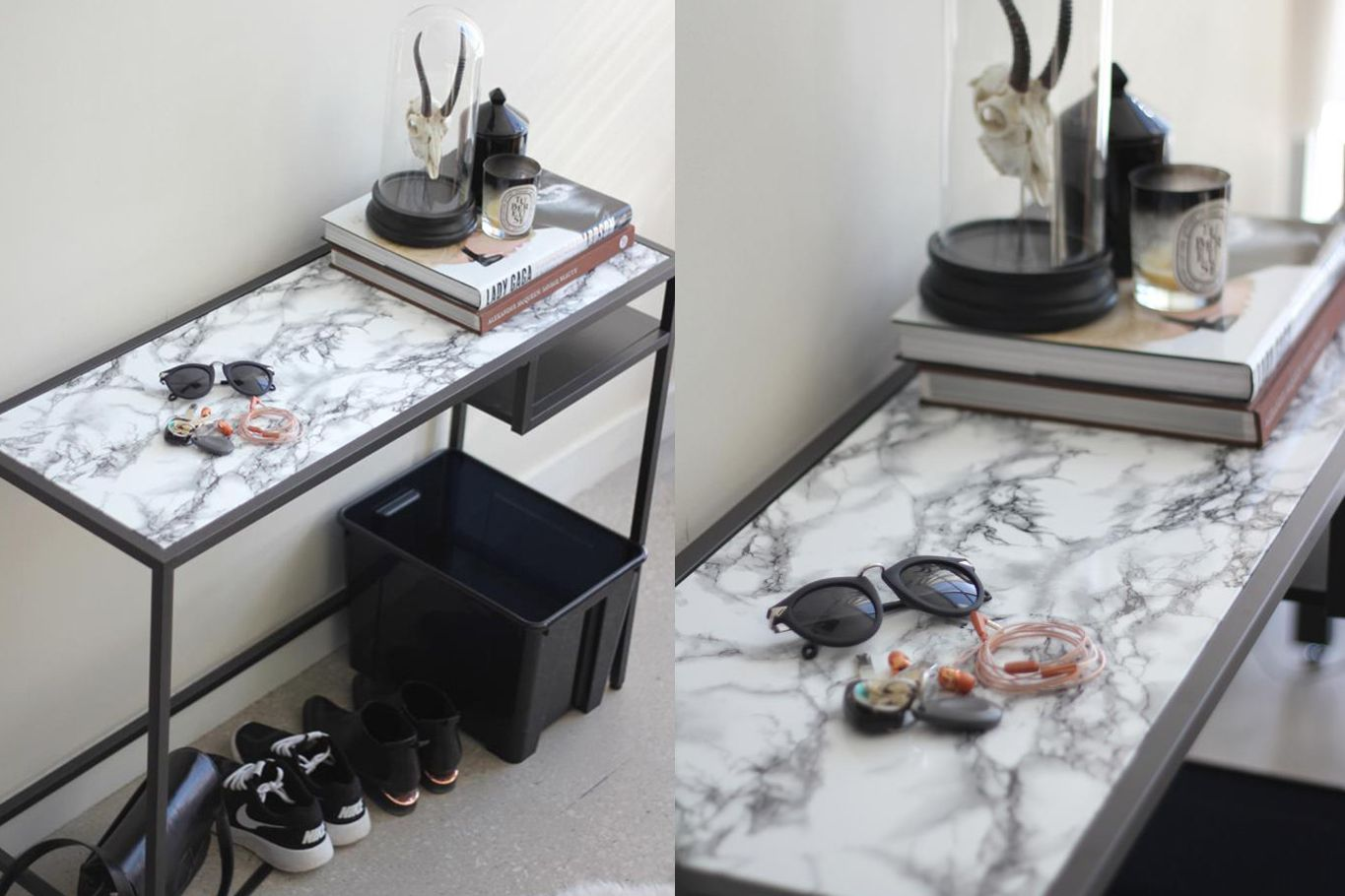 faux marble table entryway table IKEA hack