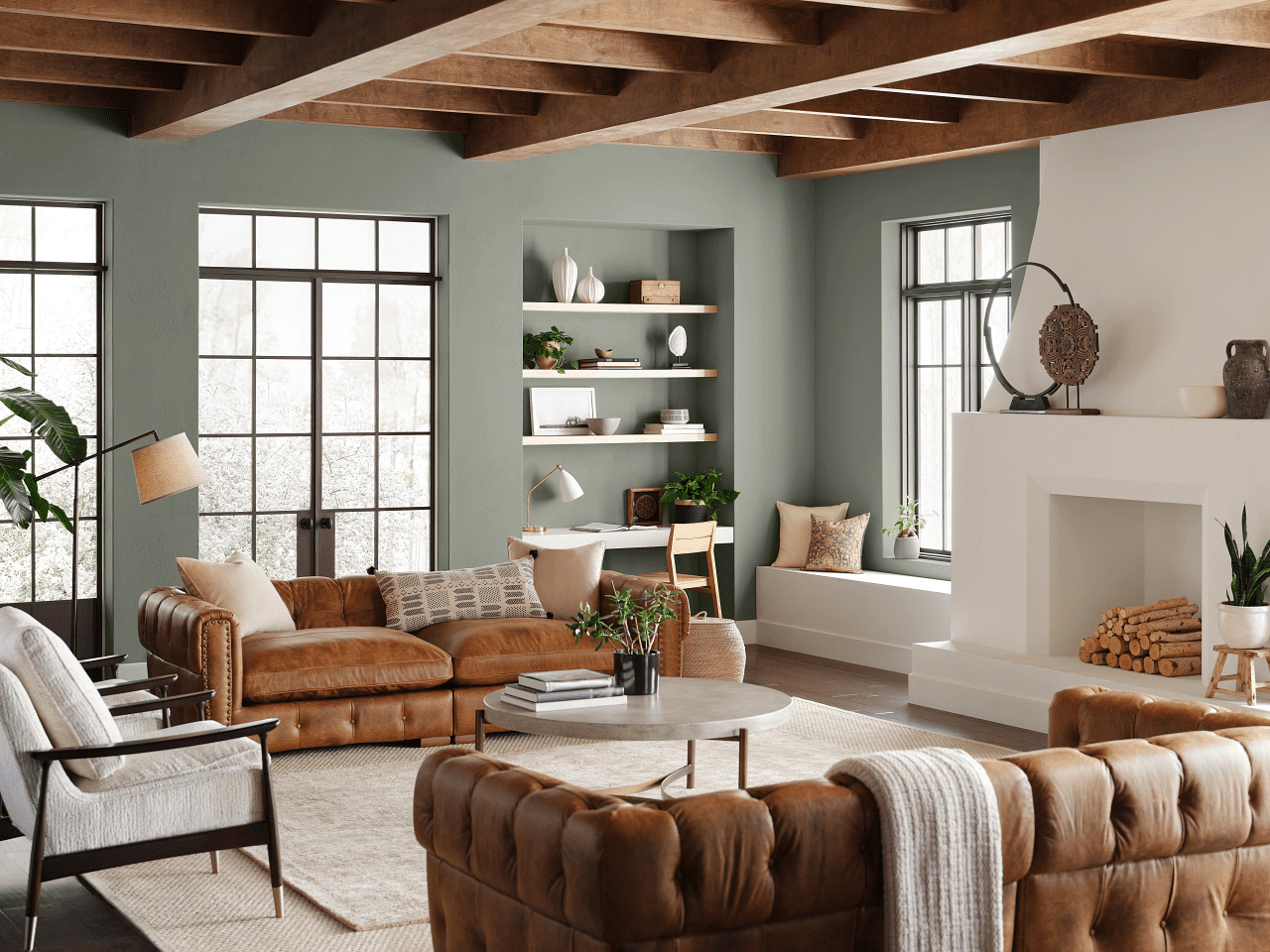 Sherwin-Williams Color of the Year 2022 Evergreen Fog in living room
