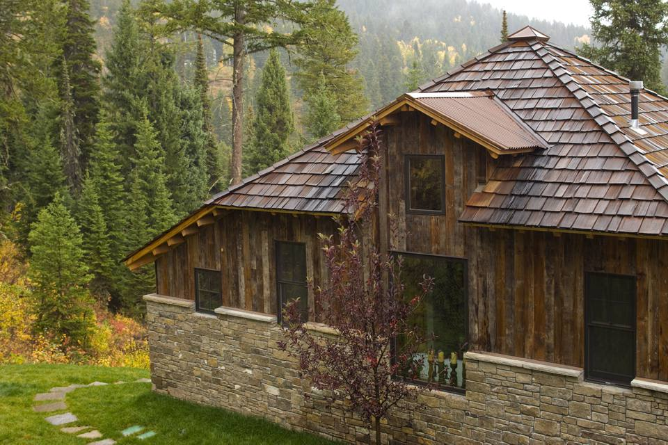 shingled cabin in the woods is really new construction