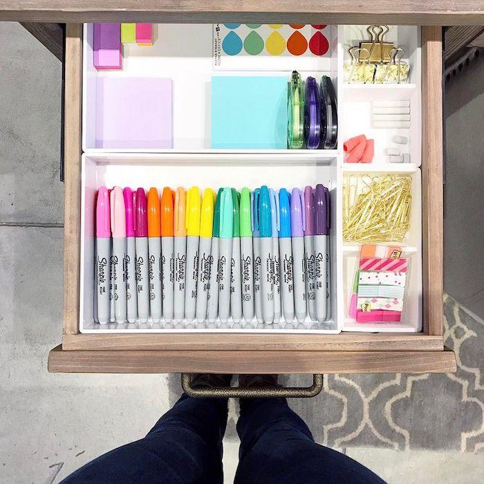 organized desk drawer