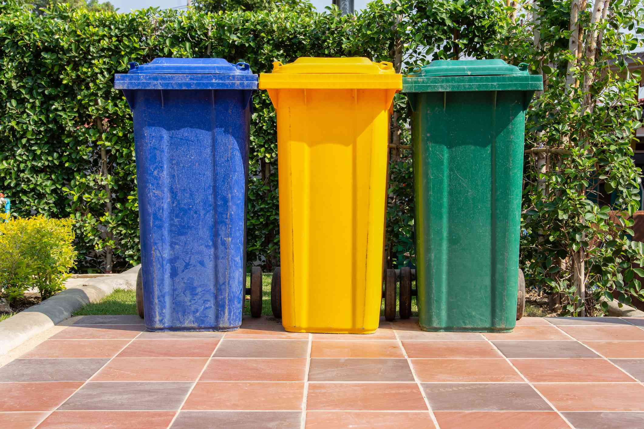 Colorful plastic bins for different waste types